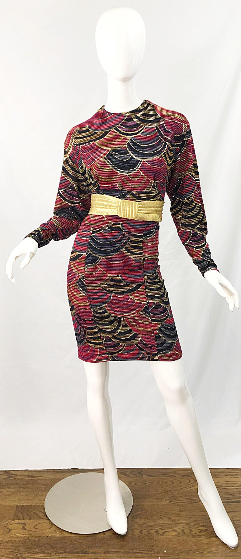 Women's 1980s Hand Painted Reversible Red + Gold + Green Vintage 80s Avant Garde Dress For Sale