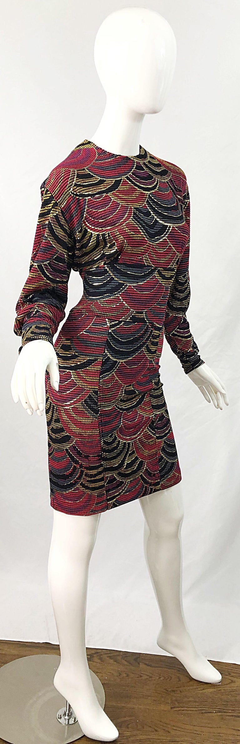 1980s Hand Painted Reversible Red + Gold + Green Vintage 80s Avant Garde Dress For Sale 1