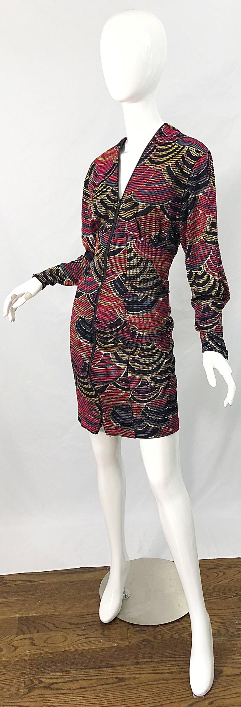 1980s Hand Painted Reversible Red + Gold + Green Vintage 80s Avant Garde Dress For Sale 2