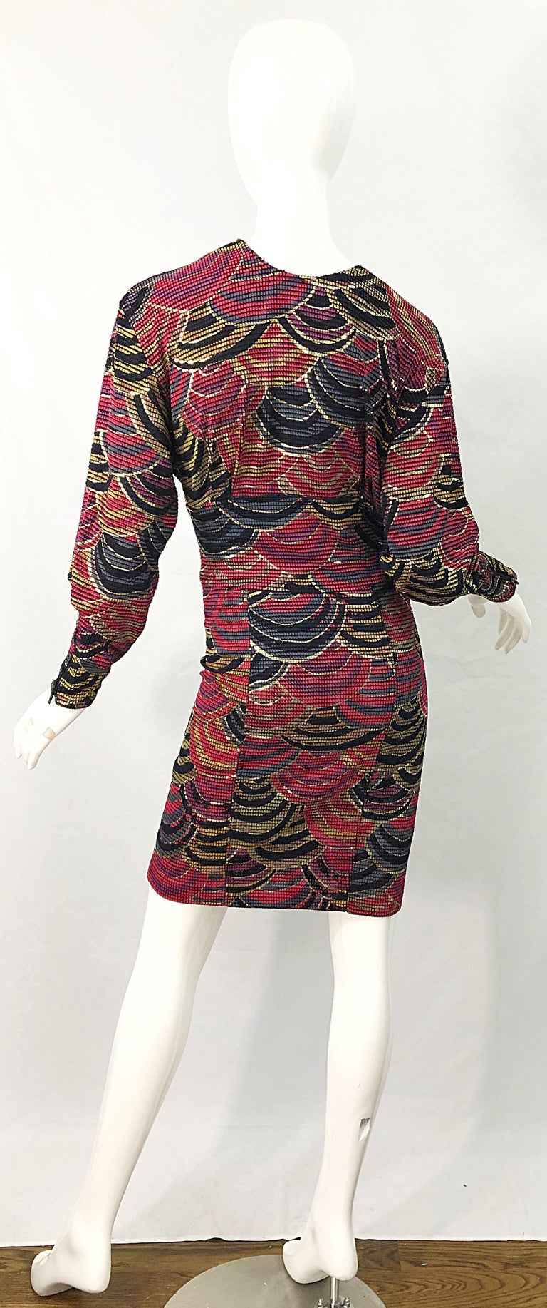 1980s Hand Painted Reversible Red + Gold + Green Vintage 80s Avant Garde Dress For Sale 3