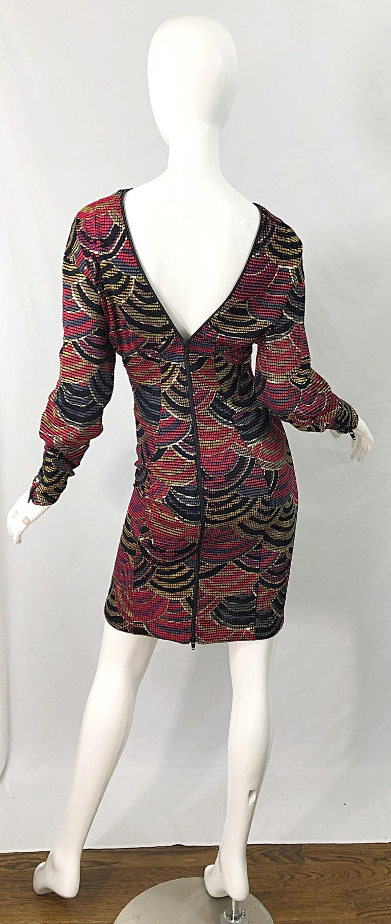 1980s Hand Painted Reversible Red + Gold + Green Vintage 80s Avant Garde Dress For Sale 4