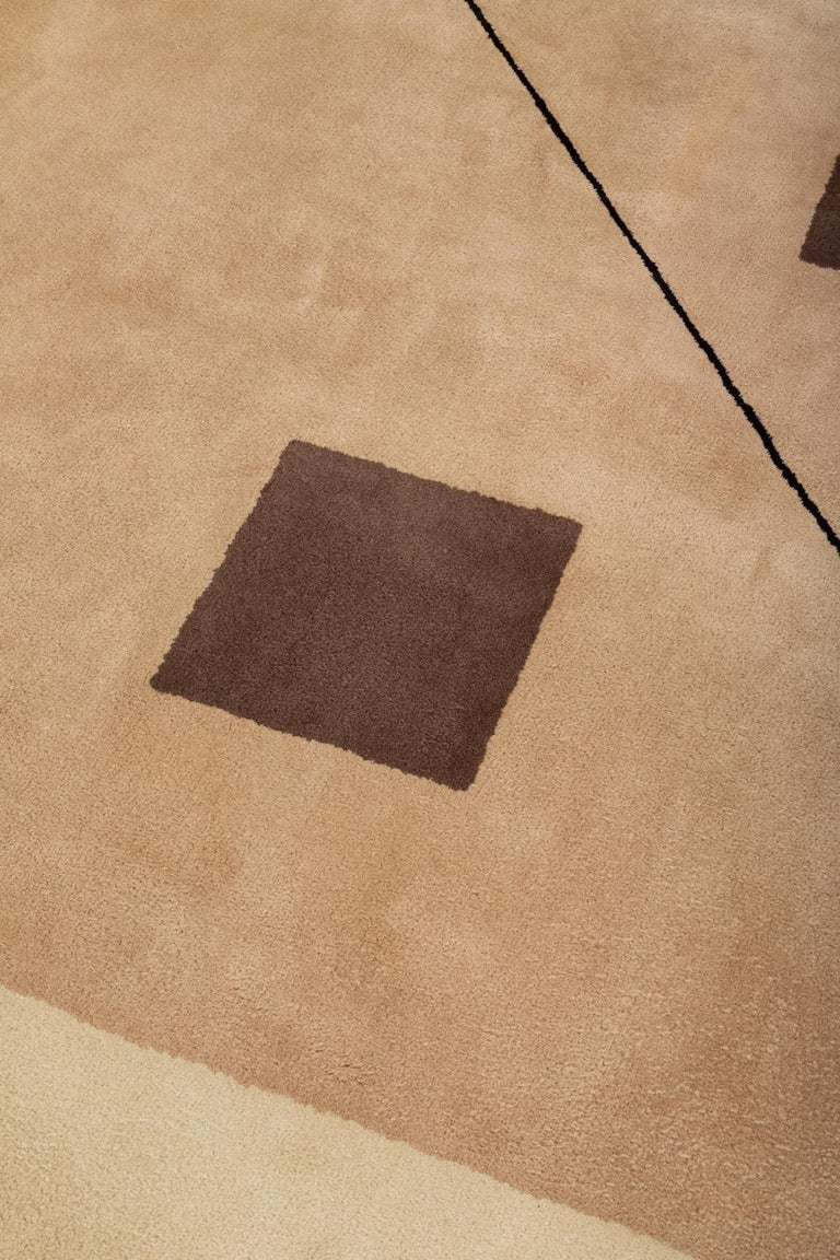 Modern 1980s Hand-Tufted Square Area Rug by Tisca For Sale