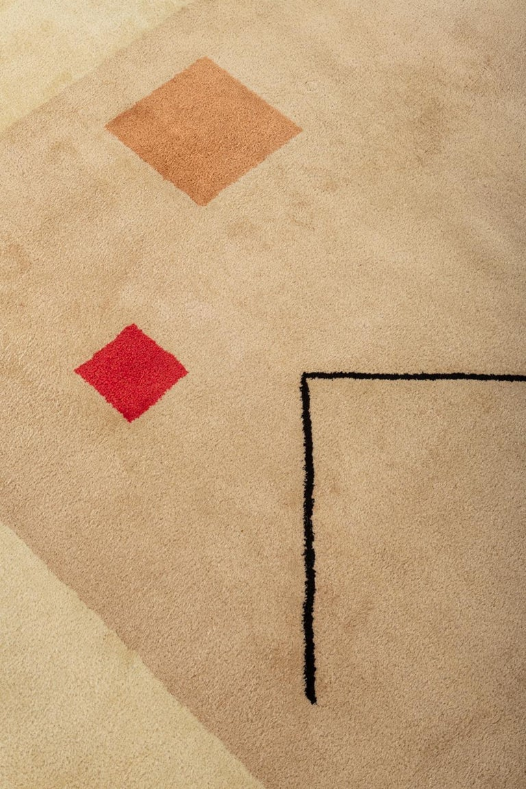 French 1980s Hand-Tufted Square Area Rug by Tisca For Sale