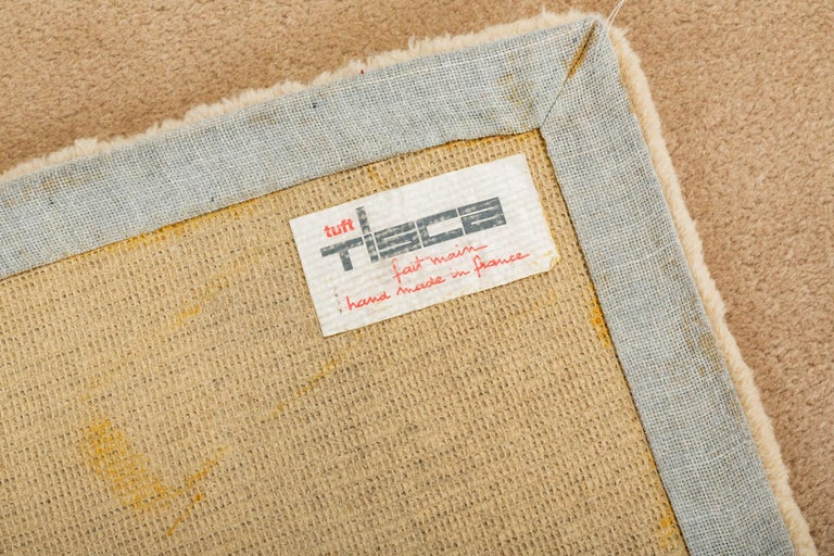 20th Century 1980s Hand-Tufted Square Area Rug by Tisca For Sale