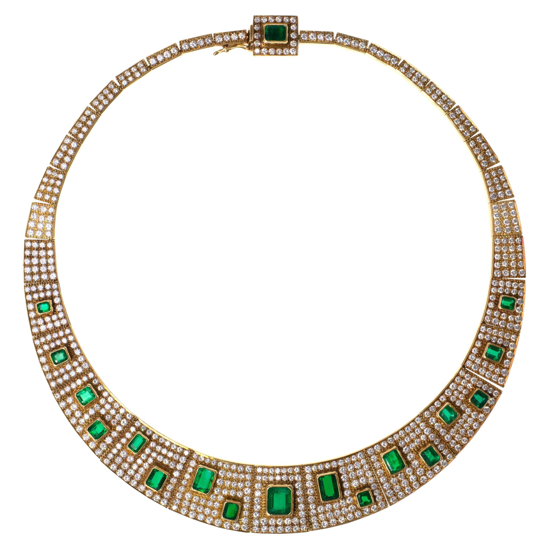 1980s Haroldo Burle Marx, Diamond, Emerald and Gold Necklace