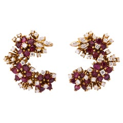 1980s Hawaii Pattern Ruby with Diamonds Half Circle Gold Earclips