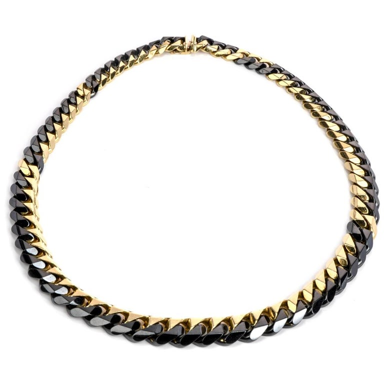 Modern 1980s Heavy 18 Karat Black and Yellow Gold Curb Link Chain Necklace For Sale