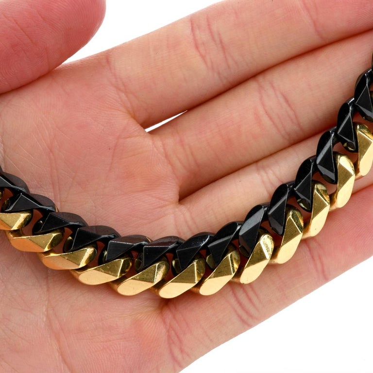 1980s Heavy 18 Karat Black and Yellow Gold Curb Link Chain Necklace For Sale 1