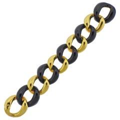1980s Heavy Gold Enamel Link Bracelet