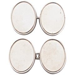 1980s Heavy Oval Solid Sterling Silver Cufflinks with a Beveled Edge