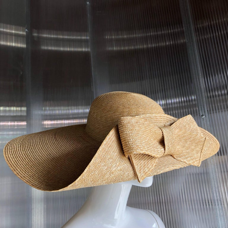 Beige Helene Berman Wide Folded Brim and Large Bow Natural Straw Hat , 1980s  For Sale