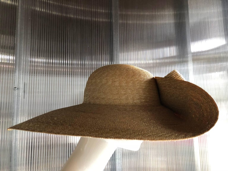 Helene Berman Wide Folded Brim and Large Bow Natural Straw Hat , 1980s  In Excellent Condition For Sale In San Francisco, CA