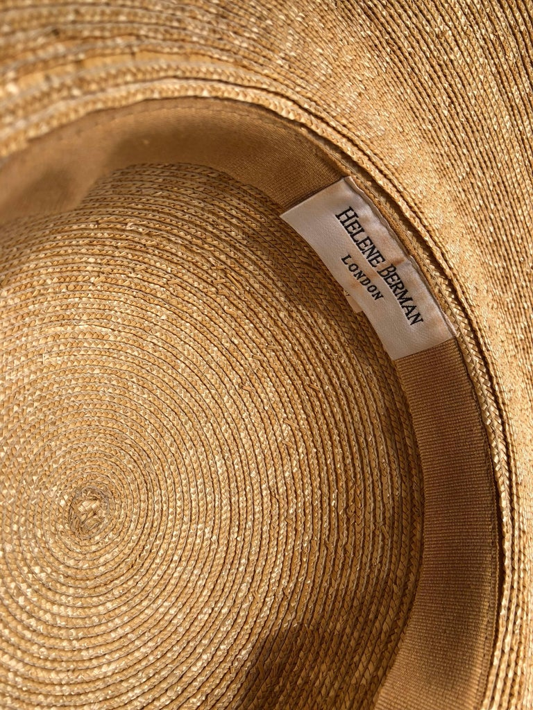 Women's Helene Berman Wide Folded Brim and Large Bow Natural Straw Hat , 1980s  For Sale