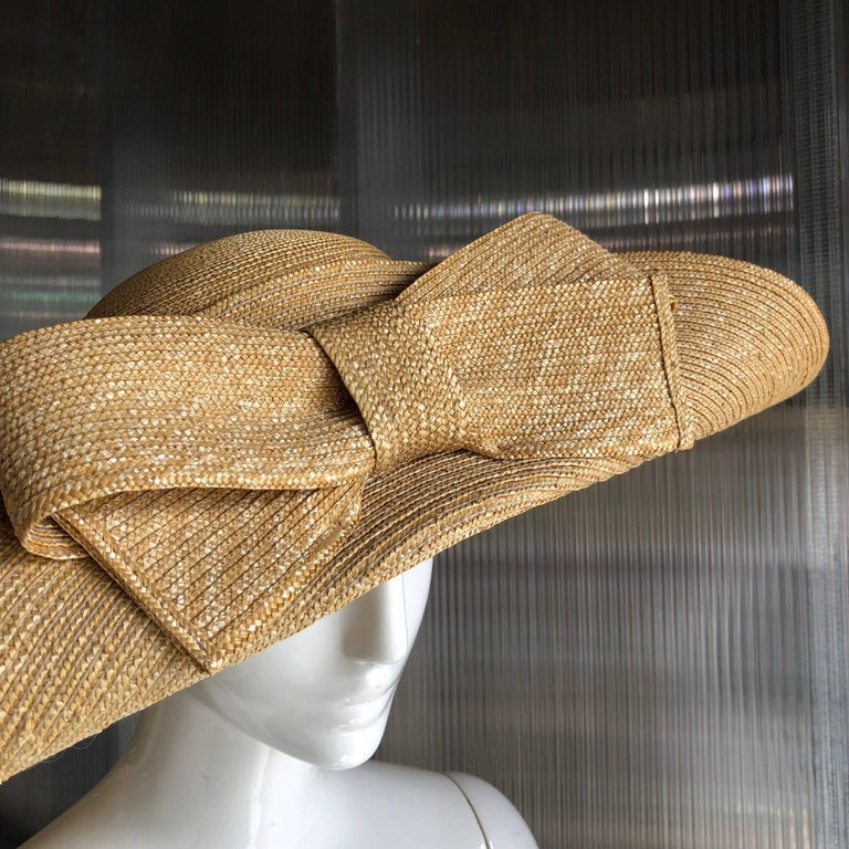 Helene Berman Wide Folded Brim and Large Bow Natural Straw Hat , 1980s  For Sale 1