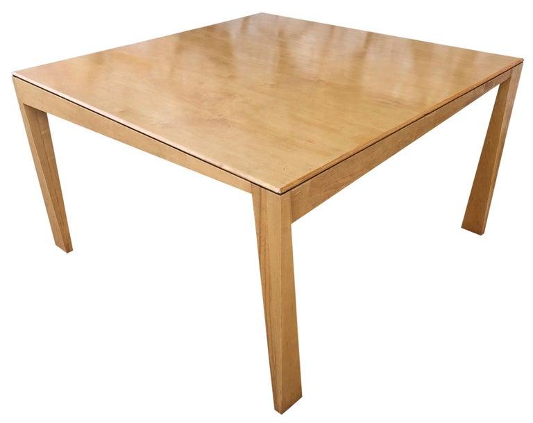 Minimalist 1980s Hennie de Jong Square Asymmetrical Leg Maple Square Dining Table For Sale