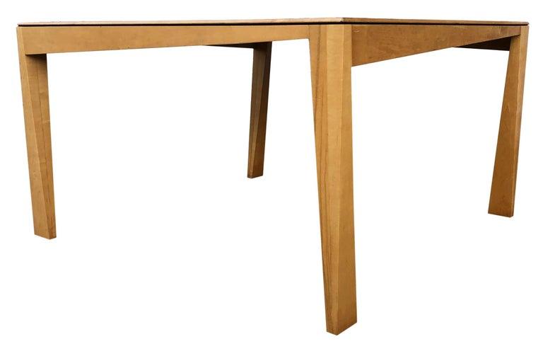Dutch 1980s Hennie de Jong Square Asymmetrical Leg Maple Square Dining Table For Sale