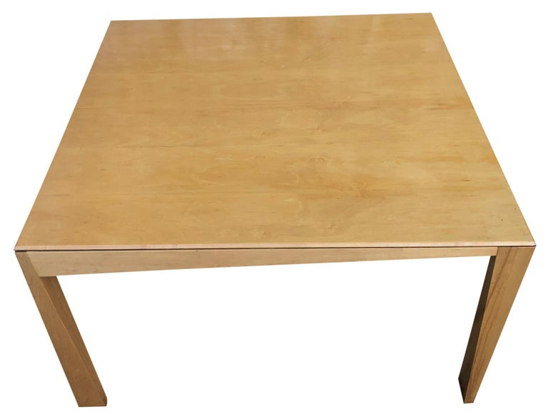 1980s Hennie de Jong Square Asymmetrical Leg Maple Square Dining Table In Good Condition For Sale In BROOKLYN, NY