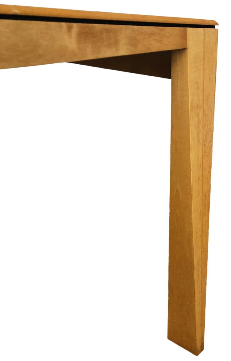 Late 20th Century 1980s Hennie de Jong Square Asymmetrical Leg Maple Square Dining Table For Sale