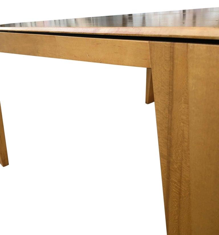 1980s Hennie de Jong Square Asymmetrical Leg Maple Square Dining Table For Sale 1