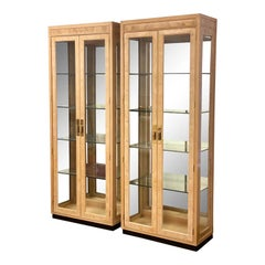 1980s Henredon Scene Two Burl Wood and Glass Display Cabinets, a Pair