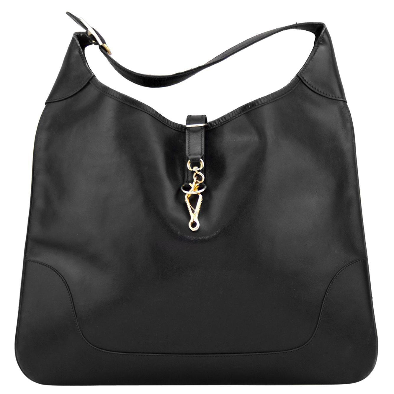 1980s Hermes Black Leather Trim Bag 38cm