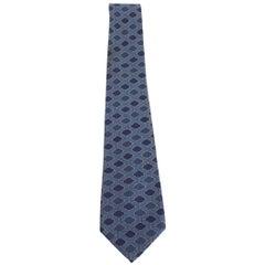 1980s Hermes Blue Silk Geometric Print Tie 937 IA
