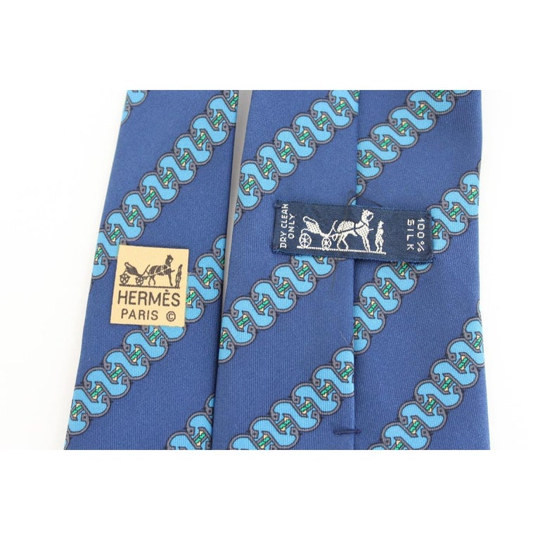 Men's 1980s Hermes Blue Silk Snake Tie 7161 FA For Sale