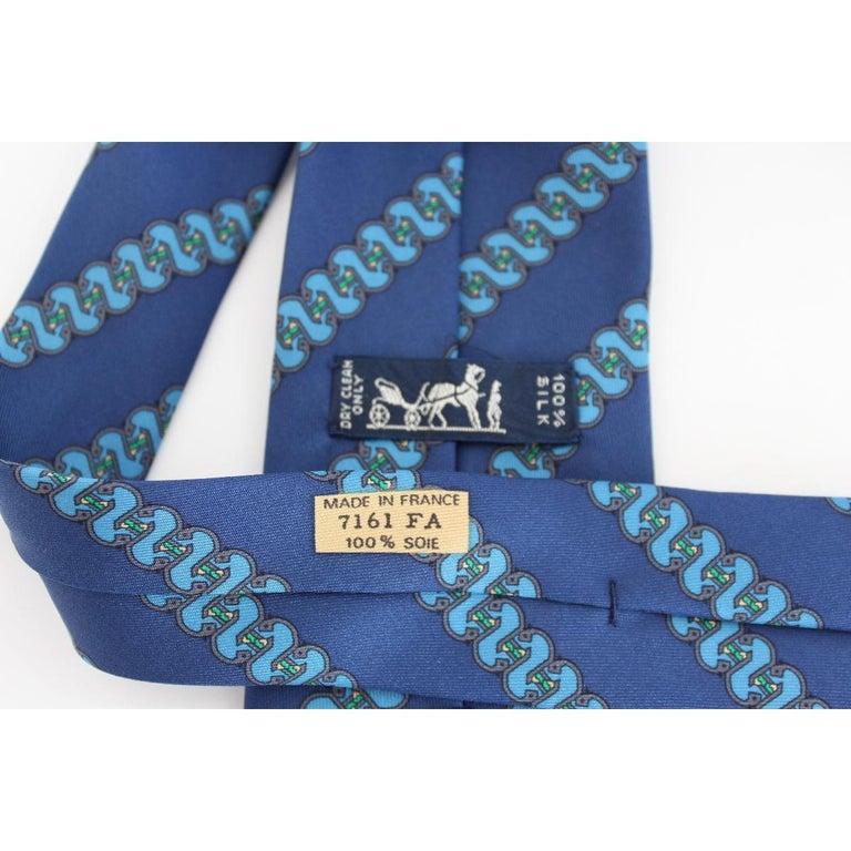 1980s Hermes Blue Silk Snake Tie 7161 FA For Sale 1