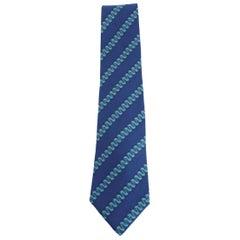 1980s Hermes Blue Silk Snake Tie 7161 FA