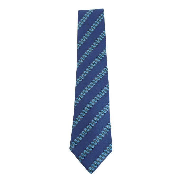 1980s Hermes Blue Silk Snake Tie 7161 FA For Sale