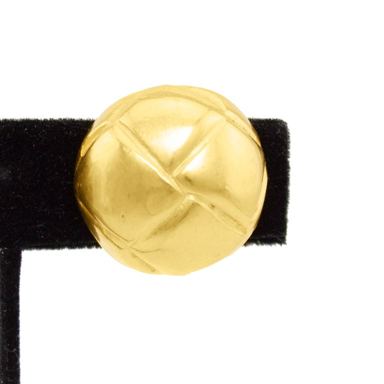 Women's 1980s Hermes Gold Quilted Clip On Earrings  For Sale