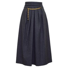 1980s Hermes Grey Wool and Cashmere Midi Skirt