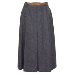 1980s Hermes Grey Wool Skirt with Leather Detail
