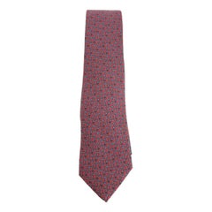 1980s Hermes Red Silk Geometric Print Tie 952 IA