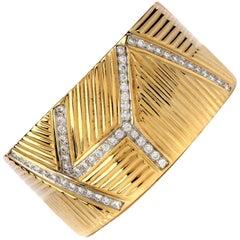 1980s High Polish Diamond Bangle Cuff Gold Bracelet