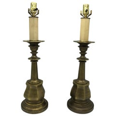 1980s Hollywood Regency Brushed Brass Candlestick Lamps, Pair