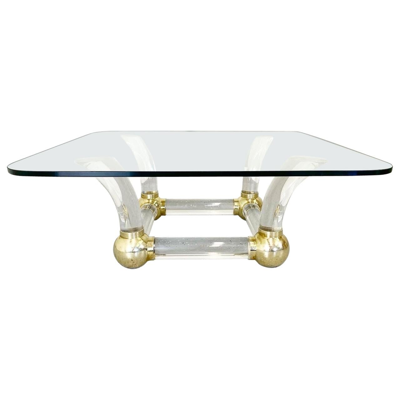 1980s Hollywood Regency Lucite and Brass Karl Springer Style Cocktail Table