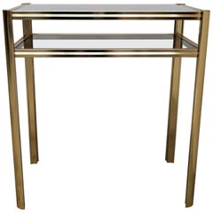 1980s Hollywood Regency Mid-Century Modern Brass and Smoked Glass Console