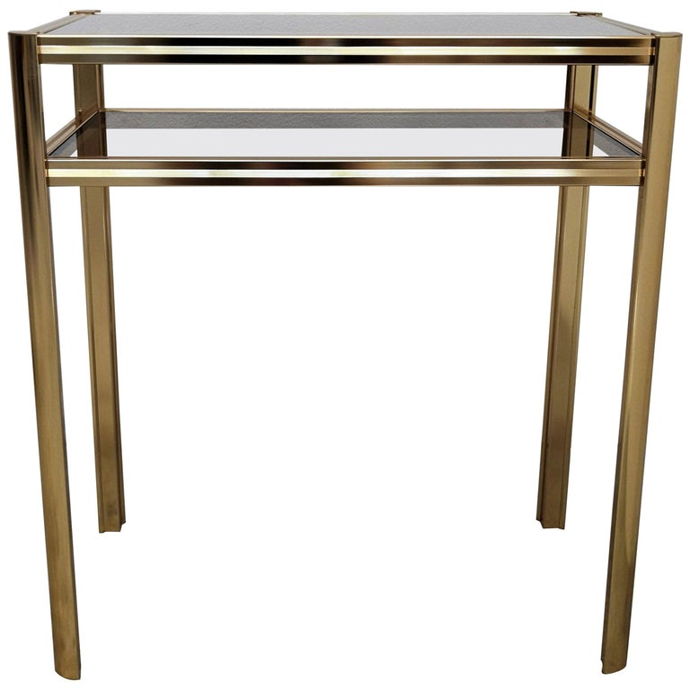 1980s Hollywood Regency Mid-Century Modern Brass and Smoked Glass Console For Sale