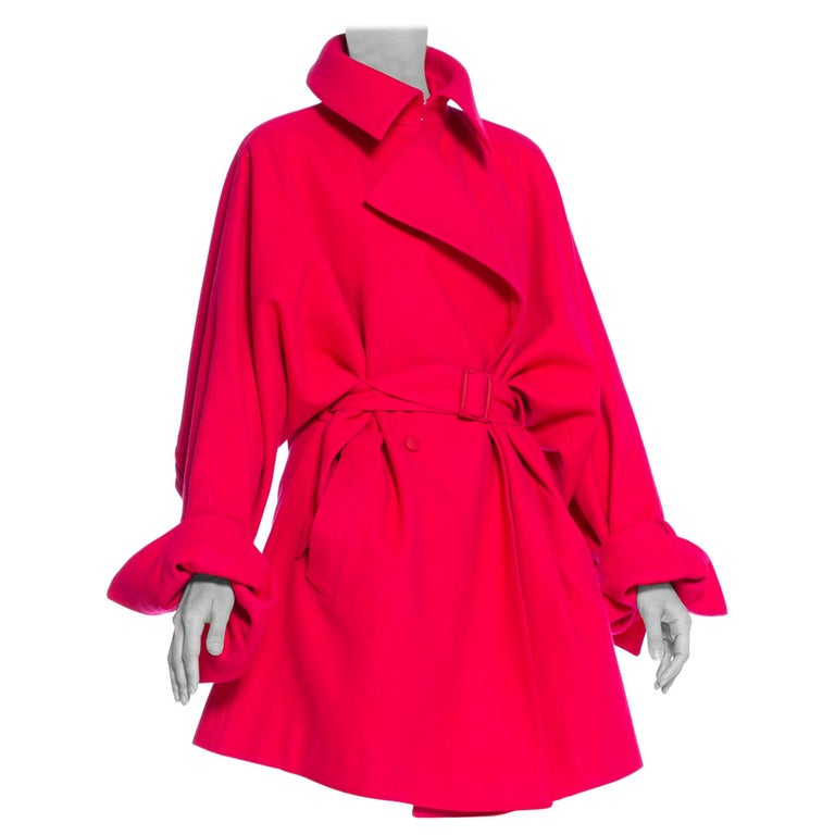 Claude Montana oversize hot-pink wool trench coat with belt, 1980s