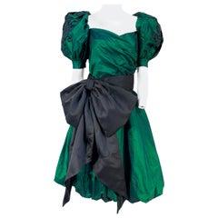 1980s Huey Waltzer Iridescent Green and Black Dress