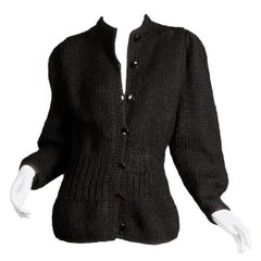 1980s I. Magnin Vintage Black Chunky Knit Wool Full Sleeve Cardigan Sweater