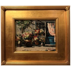 1980s Impressionistic Oil on Canvas Painting of a Patio Signed by Artist