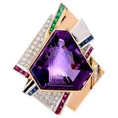 1980s Intaglio Amethyst Diamond Emerald Ruby Gold Platinum Brooch Pendant