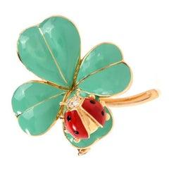 1980s Irish Four Clover and Ladybug Gold Irish Lapel Brooch Pin