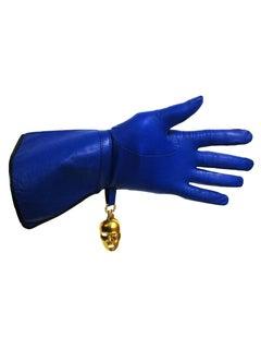 1980s Isabel Canovas Azure Blue Leather Gloves