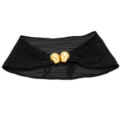 1980s Isabel Canovas Black Suede Belt with Face Clasp