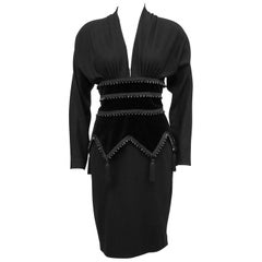 1980s Isabelle Allard Black Corset Style Cocktail Dress