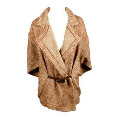 1980's ISSEY MIYAKE alpaca and linen coat with horn toggle closure.