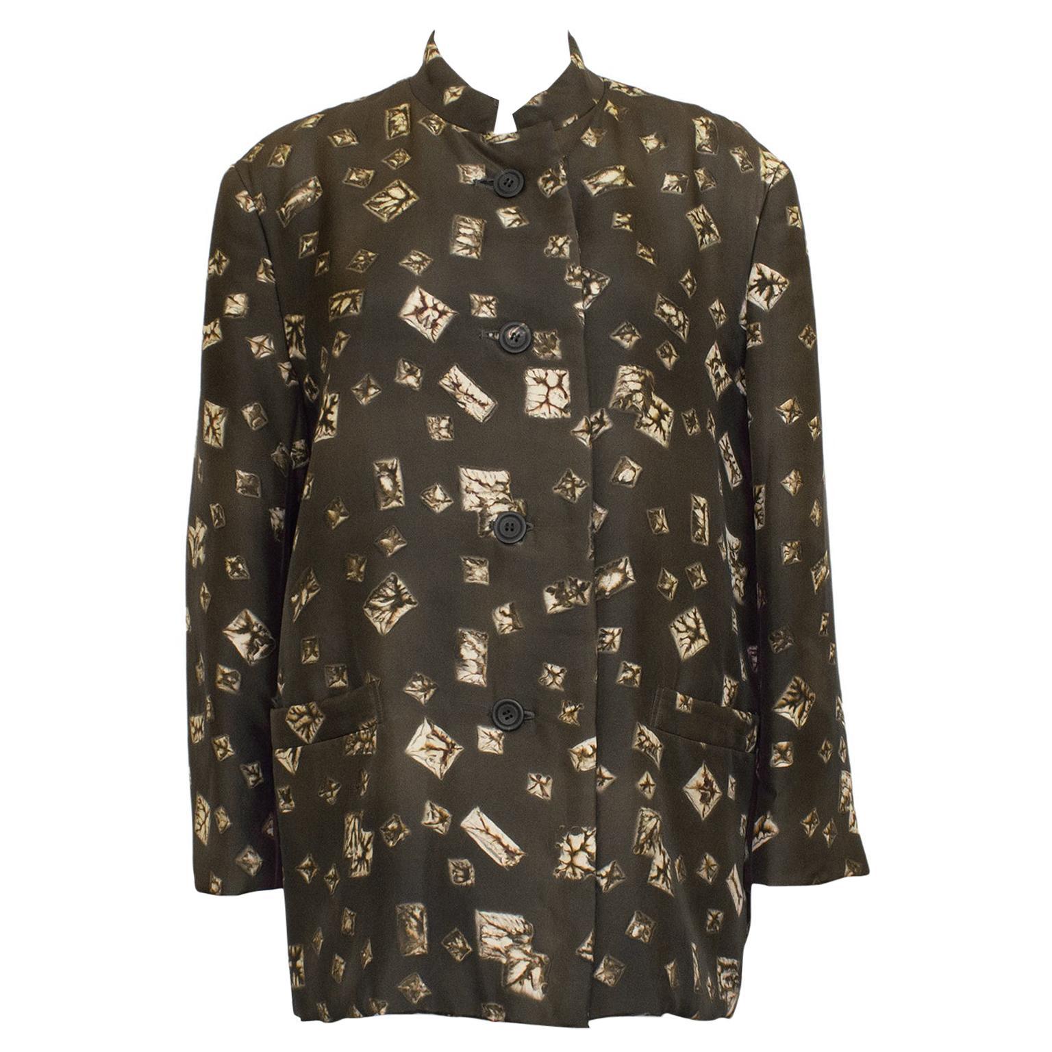 1980s Issey Miyake Brown Printed Silk Jacket